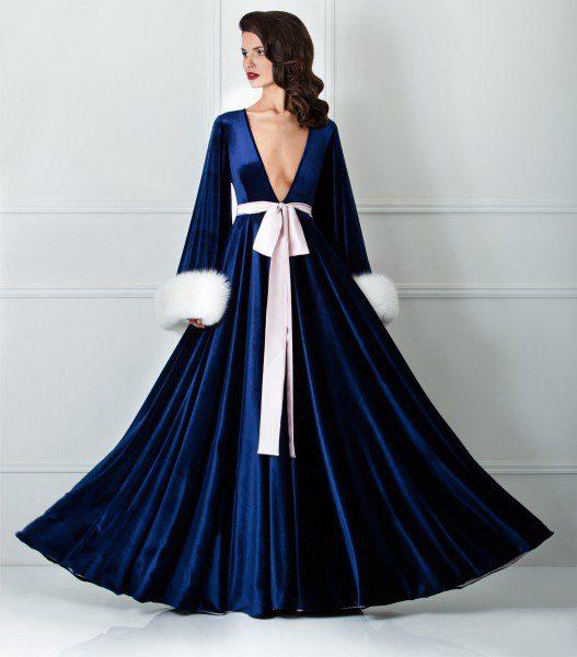 best quality professional design wide range Amoralle-navy-blue-velvet-robe-527x600 | Esty Lingerie