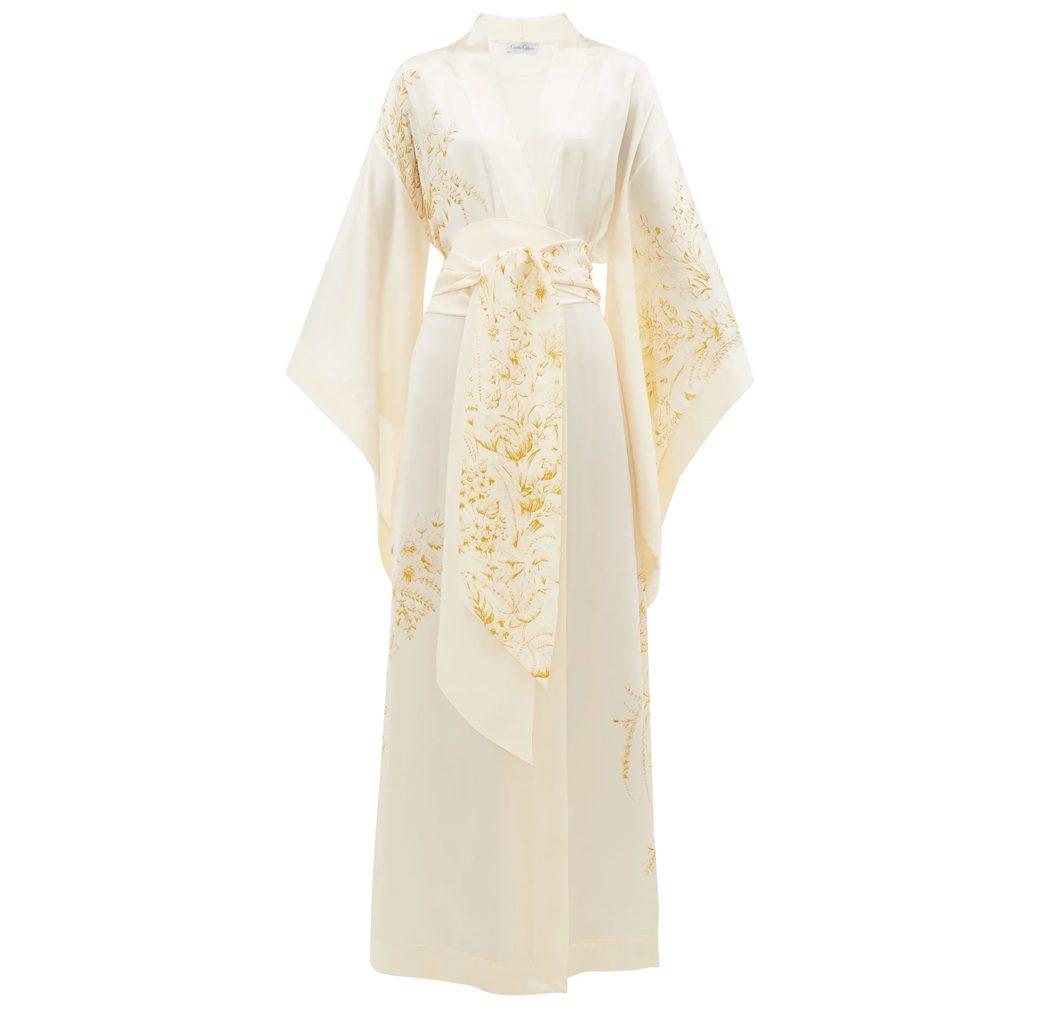 Carine Gilson white and gold floral print silk kimono style robe